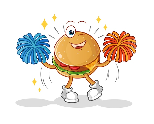 Caricature de pom-pom girl burger. mascotte de dessin animé