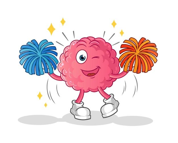 Caricature de pom-pom girl de cerveau. mascotte de dessin animé