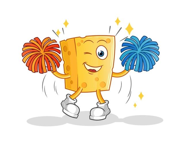 Caricature de pom-pom girl de fromage. mascotte de dessin animé