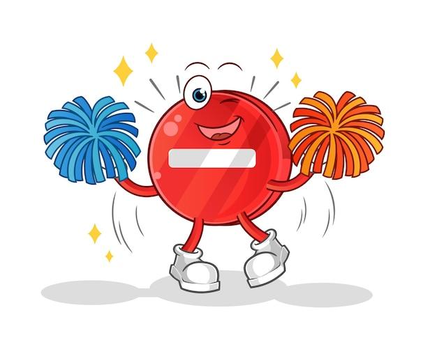 Caricature de pom-pom girl de panneau d'arrêt