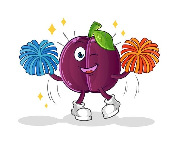 Caricature de pom-pom girl prune. mascotte de dessin animé