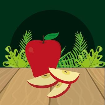 Caricature de pomme de fruits frais