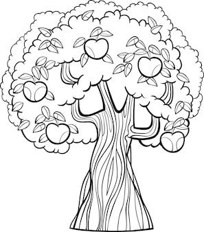 Caricature de pommier pour cahier de coloriage