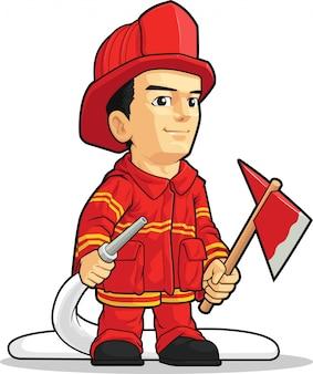 Caricature de pompier garçon