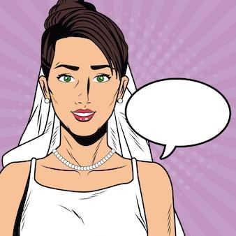 Caricature de pop art belle mariée