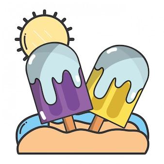 Caricature de popsicles d'été