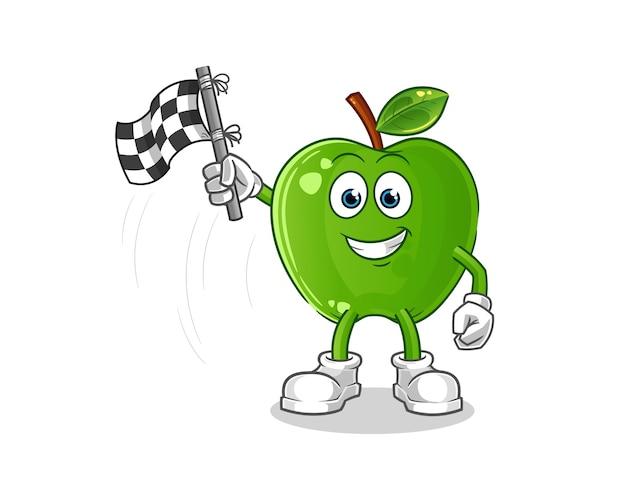 Caricature de porte-drapeau finition pomme verte