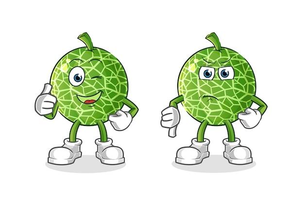 Caricature de pouce vers le haut et pouce vers le bas de citron