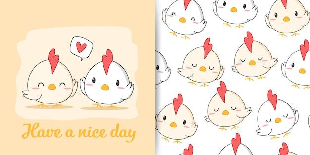 Caricature de poulet coq mignon doodle carte de voeux modèle sans couture
