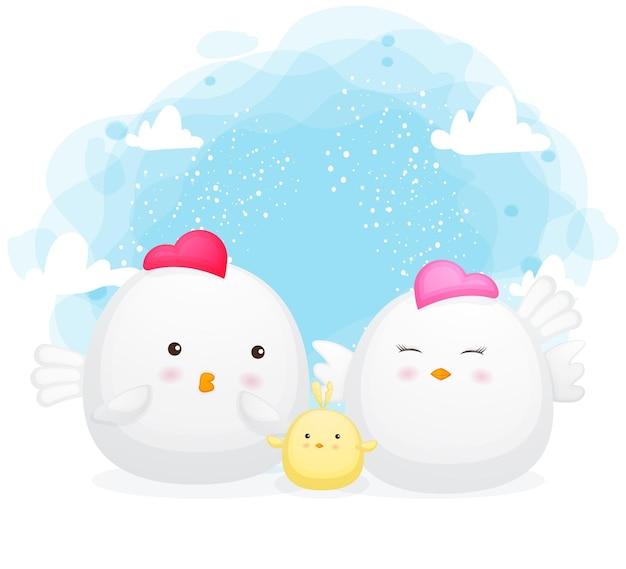 Caricature de poulet mignon famille heureuse