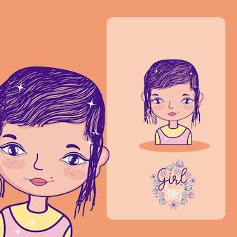 Caricature de pouvoir fille