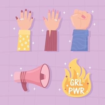 Caricature de pouvoir de fille