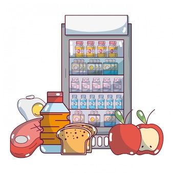 Caricature de produits d'épicerie de supermarché