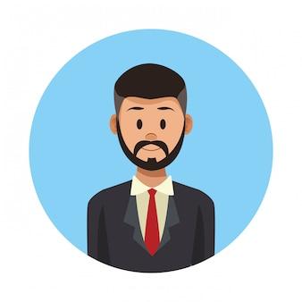 Caricature de profil homme d'affaires