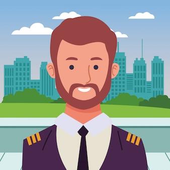 Caricature de profil souriant pilote d'avion de ligne