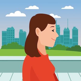 Caricature de profil tête jeune femme visage