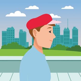 Caricature de profil tête jeune homme visage