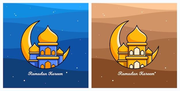Caricature de ramadan kareem avec mosquée et lune de nuit