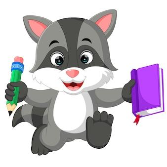Caricature de raton laveur mignon tenant livre