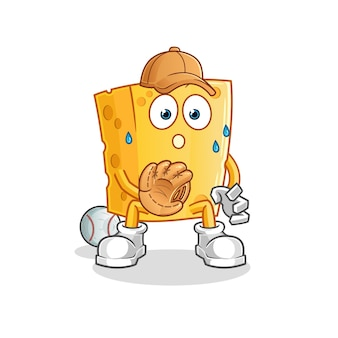 Caricature de receveur de baseball de fromage. mascotte de dessin animé