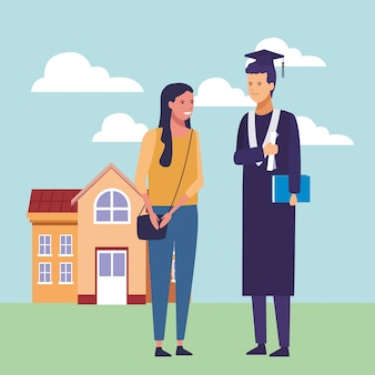 Caricature de remise des diplômes