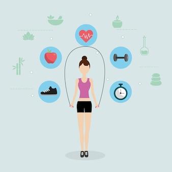 Caricature de remise en forme de santé