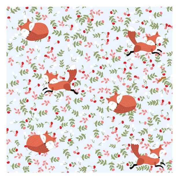 Caricature de renard au printemps modèle sans couture jardin cerisier