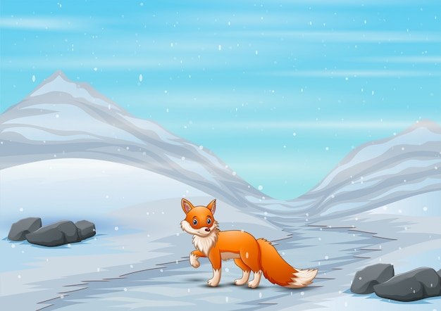 Caricature de renard en hiver chassant une proie
