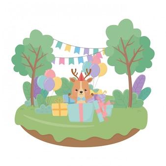 Caricature de renne avec icône joyeux anniversaire