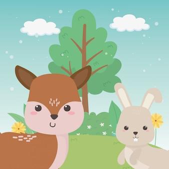 Caricature de renne et de lapin