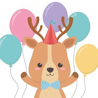 Caricature de rennes avec joyeux anniversaire