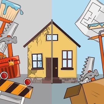 Caricature de rénovation de maison