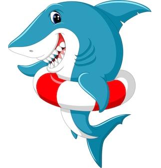 Caricature de requin mignon avec anneau gonflable