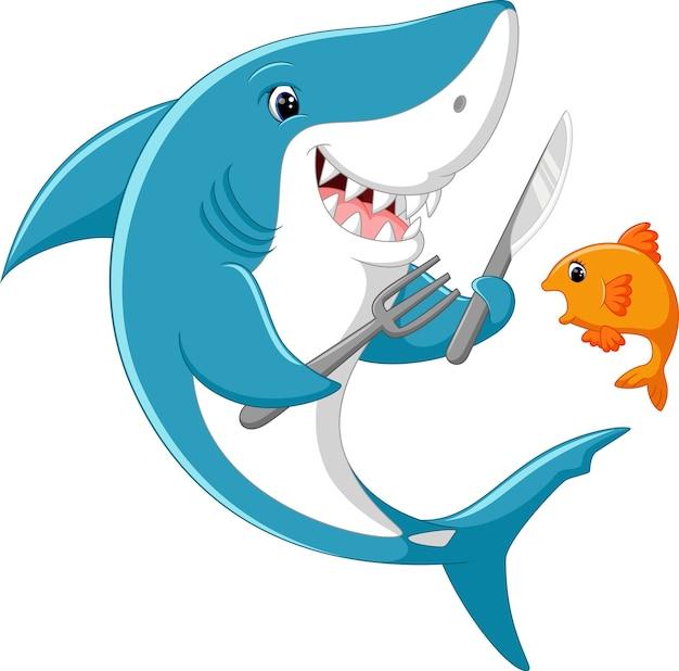 Caricature de requin mignon prêt à manger du petit poisson