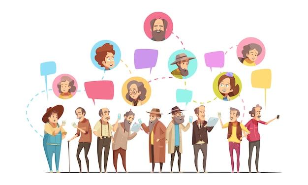 Caricature rétro en ligne de communication senior hommes