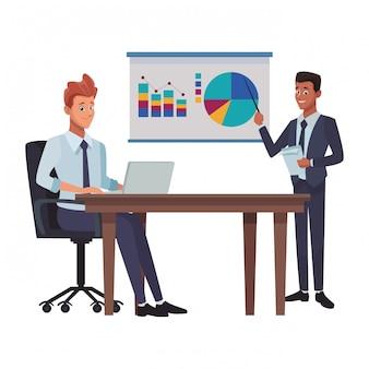 Caricature de réunion d'affaires