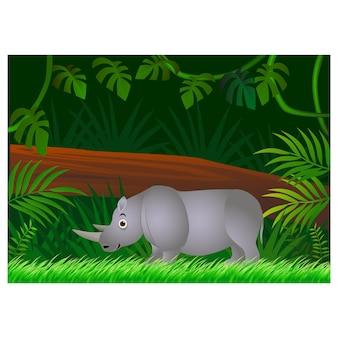Caricature de rhinocéros sur fond de forêt