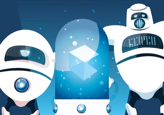 Caricature de robot sur bleu
