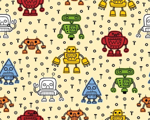 Caricature de robot coloré sur modèle sans couture
