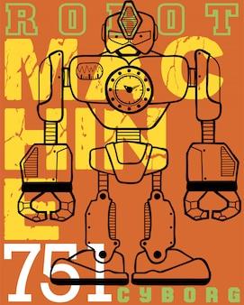 Caricature de robot avec fond de typographie