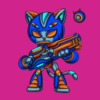 Caricature de robot soldat chat bleu tenant le pistolet
