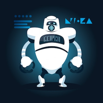 Caricature de robot de technologie sur bleu