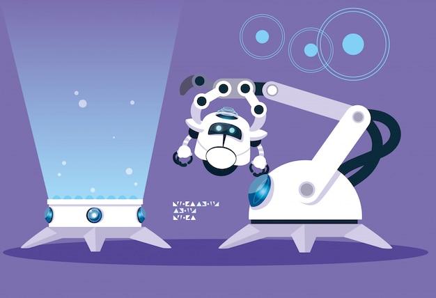 Caricature de robot de technologie sur violet
