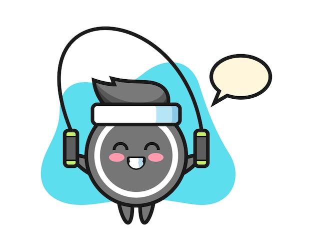 Caricature de rondelle de hockey avec corde à sauter