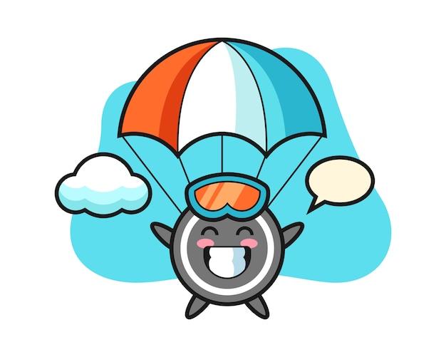 Caricature de rondelle de hockey fait du parachutisme avec un geste heureux