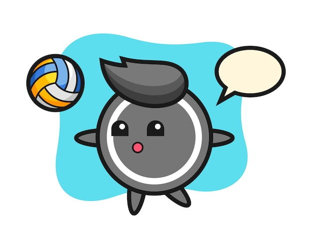 Caricature de rondelle de hockey joue au volleyball