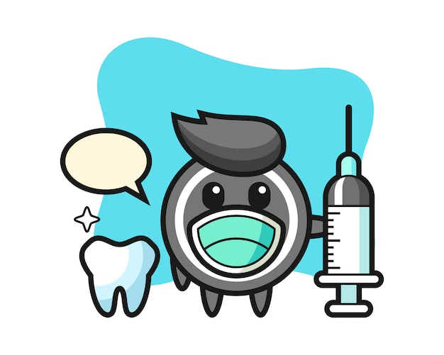 Caricature de rondelle de hockey en tant que dentiste