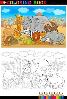 Caricature de safari animaux sauvages pour livre de coloriage