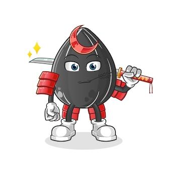 Caricature de samouraï de graines de tournesol. mascotte de dessin animé
