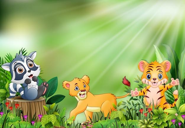 Caricature de la scène de la nature avec différents animaux